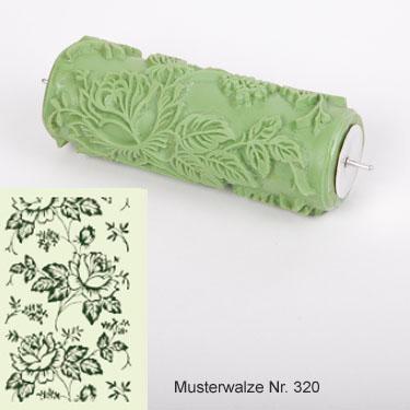 musterwalze nummer 320 mit rosen muster romantisches blumenmotiv rose f r musterwalzen maler. Black Bedroom Furniture Sets. Home Design Ideas