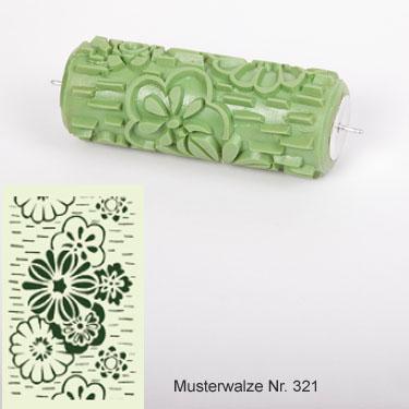 musterwalze nummer 321 mit blumenmuster musterrolle f r die wand mit verschiedenen blumen. Black Bedroom Furniture Sets. Home Design Ideas