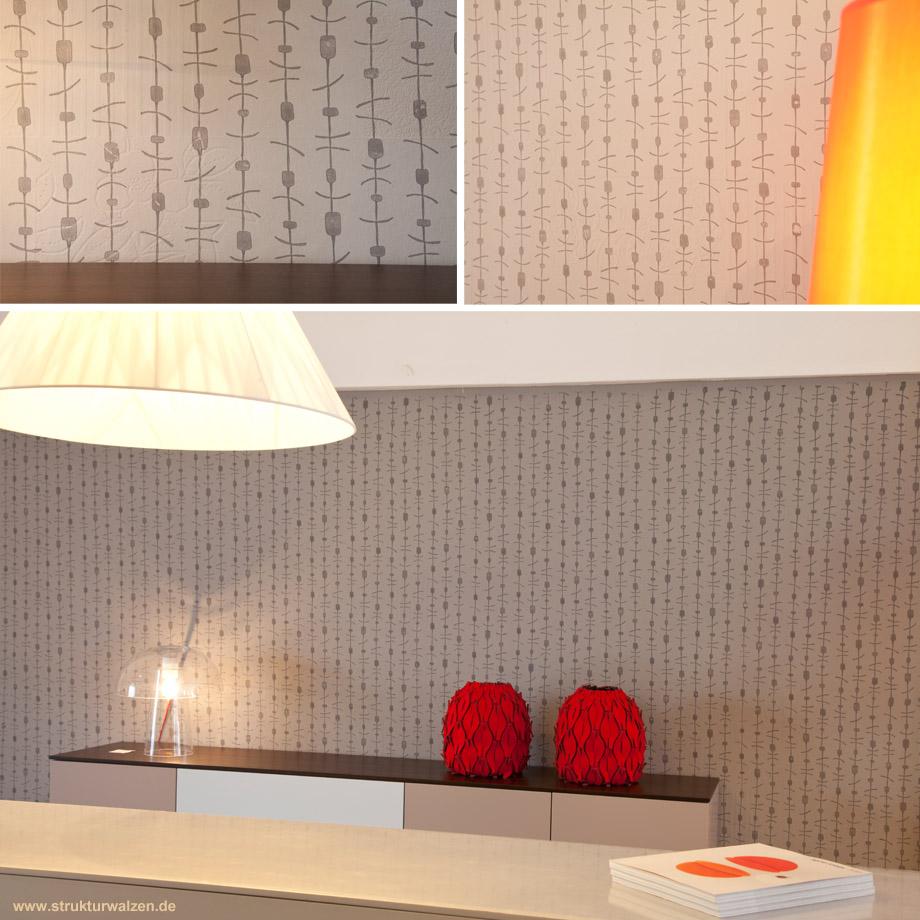 wandgestaltung mit musterwalzen und farben im stil der. Black Bedroom Furniture Sets. Home Design Ideas