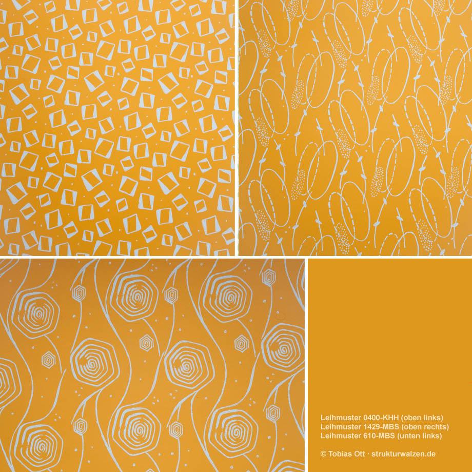Gelbe gerollte Wandmuster zum Ausleihen