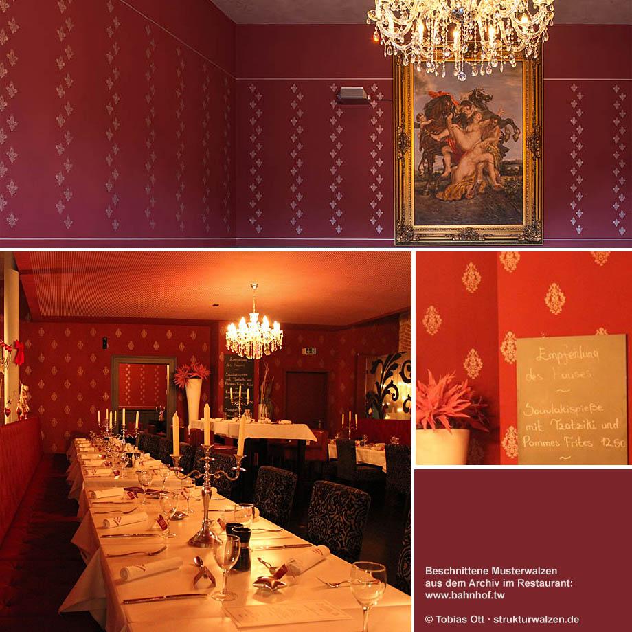 Rote Wände im Restaurant
