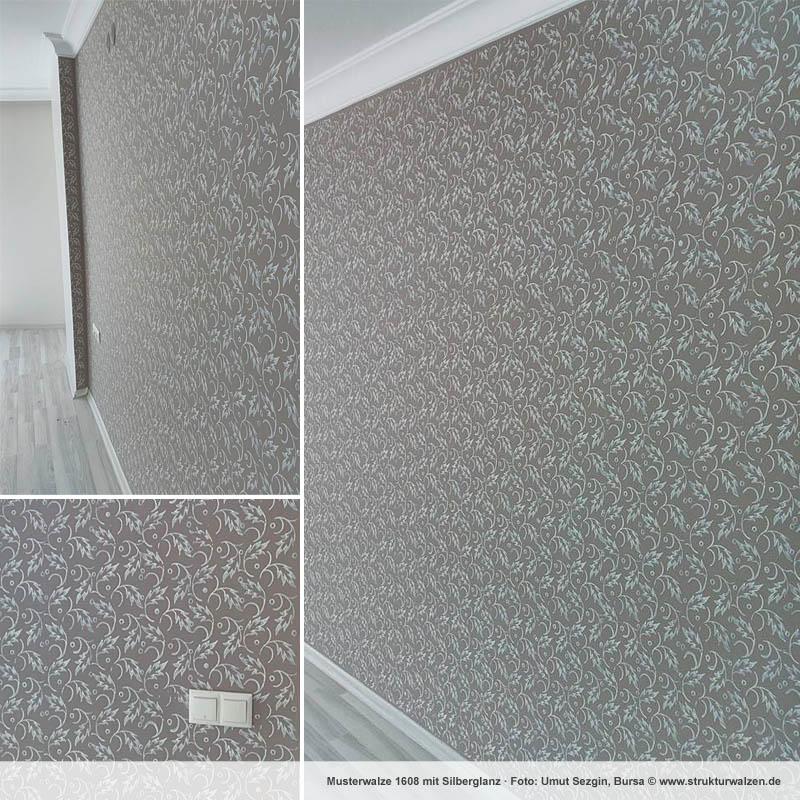 Wandgestaltung in Grau mit Silberglanz Effekt