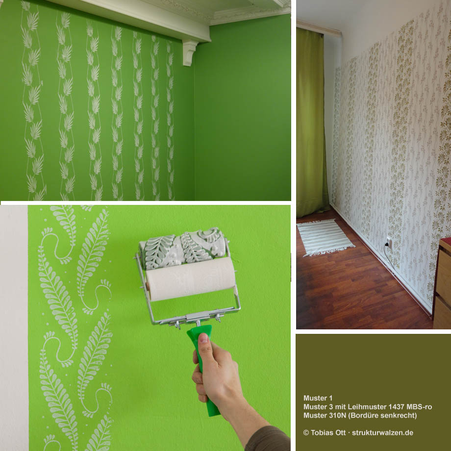 examples for wall design with patterned paint rollers in green colors. Black Bedroom Furniture Sets. Home Design Ideas