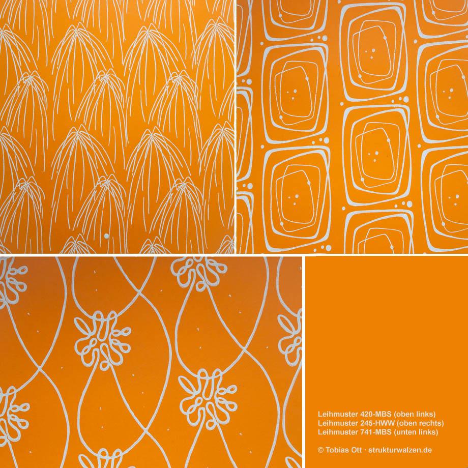 Wandgestaltung mit Muster in Orange