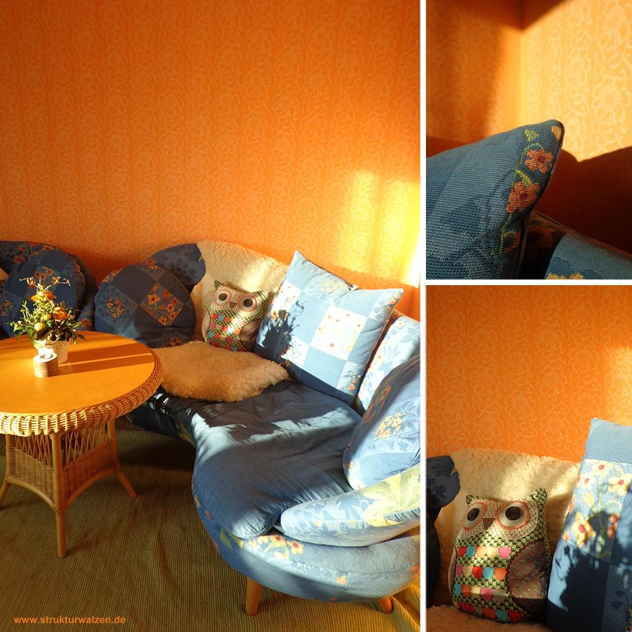 Wohnzimmer mit Musterwalze gerollt